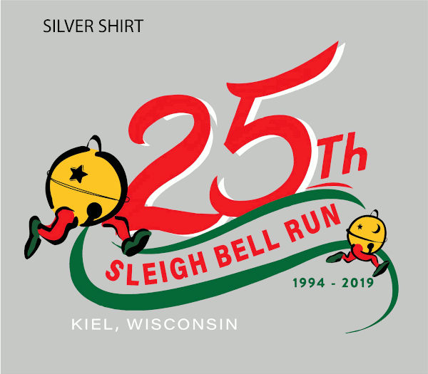 silver shirt. 25th Sleigh Bell Run - 1994-2019 - Kiel, Wisconsin